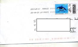 Lettre Flamme Chiffree Sous Code Symbole Inegalité Sur Timbre En Ligne Dauphin Sauvez Ocean - Annullamenti Meccanici (pubblicitari)