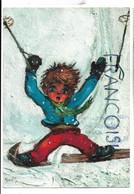 Garçon Big Eyes à Skis. Poulbot. Signée Michel Thomas - Escenas & Paisajes