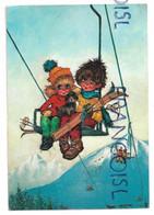 Couple Big Eyes Avec Un Chien à Skis Dans Un Remonte-pente. Poulbot. Signée Michel Thomas - Escenas & Paisajes