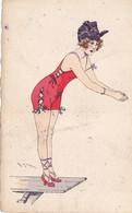 Cpa- Illustrateur Maurice Milliere-femme En Maillot De Bain Sur Un Plongeoir -edi E.D N°501 - Milliere