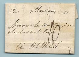 LAC écrite Au Chateau De CHERVILLE (près CHARTRES) Pour La Comte DIGOINE à Nimes. LAC De 1774. MP PARIS à L'infini - 1701-1800: Precursors XVIII