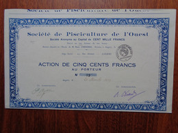 FRANCE - 49 - MAINE ET LOIRE - ANGERS 1927 - STE DE PISCICULTURE DE L'OUEST - ACTION DE 500 FRS - PEU COURANT - Unclassified
