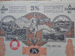 TCHECOSLOVAQUIE - PRAGUE 1928 - EMPRUNT 3%  - TITRE DE 3 000 COURONNES - Zonder Classificatie