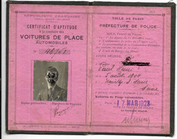 Certificat D'Aptitude à La Conduite Des VOITURES DE PLACE AUTOMOBILES...1928 - Other