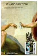 "Ukraine Anti COVID-19 Postcard ""USE HAND SANITIZER"" With COVID Stamp/Postmark - Ziekte"
