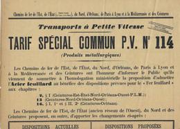 Affiche Chemins De Fer 1910 / Tarif Spécial Pour Transport De Fer & Acier / Est, Nord, Orléans,PLM, Ceintures - Otros