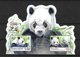 Iles PITCAIRN Islands - Vanuatu -Emission Commune - Hong Kong 2009 - Feuillet 2 Valeurs** Panda - Altri - Asia