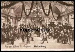 ALTE POSTKARTE HIRSCHGASSE MENSUR STUDENTICA STUDENTIKA ÉTUDIANT FECHTEN Fencing Duel Cpa Postcard AK Ansichtskarte - Heidelberg