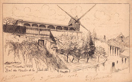PARIS 18 - Bal Du Moulin De La Galette 1885 (carte Illustrée Par Eugéne DELATTRE )VS Cachet Maritime MARSEILLE à LOANGO - Distrito: 18
