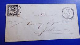 CORRÈZE- Lettre AYEN (t 22) Avec T.taxe Carrée 15 C Typogr.oblitéré JUILLAC-1864. - 1859-1955 Lettres & Documents