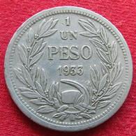 Chile 1 Un Peso 1933 KM# 176.1  Chili - Chili