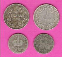 BELGIQUE Belgie Monnaie Argent Lot 2 Pièces 1 Franc 1909 Leopold Et 1911 Albert + 2 50 Centimes Argent - Ohne Zuordnung
