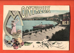 ZGA-24 RARE Litho Montreux FAntaisie Bateau à Vapeur.  Steiner 779, Non Circulé - VD Waadt