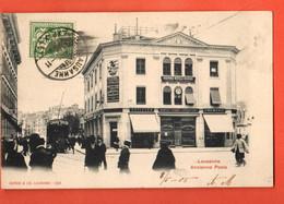 ZGA-32 RARE Lausanne Assurance Mutuelle Vaudoise Opticien,banque,Crémerie,Tramway Cacao Kohler, ANIME. Circulé 1905 - VD Waadt