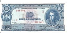 BOLIVIE 10 BOLIVIANOS L.1945(1952) AUNC P 139 C - Bolivia