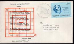 """Argentina - 1987 - Lettre - Cachet Spécial - Enveloppe Thématique - Jorge L. Borges """"Ajedrez"""" - Thème Des échecs - A1RR2 - Scacchi"""