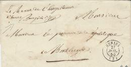 """1850- Enveloppe De HURIEL( Allier ) Cad T15 + Franchise Manuscrite """" Le Receveur De L'Enregistrement """" - 1849-1876: Classic Period"""