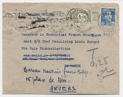 GANDON 4FR50 BLEU SEUL LETTRE BREST 9.V.1947 POUR LE HAVRE REEXPEDIEE EN BELGIQUE TAXE 1FR50 ANVERS - 1945-54 Marianne De Gandon