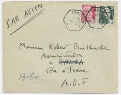 GANDON 20FR GRAVE +3FR LETTRE AVION C. HEX CHAVILLE AA 4.12.1946 POUR COTE D'IVOIRE AU TARIF - 1945-54 Marianne (Gandon)