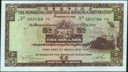 ♛ HONG KONG - 5 Dollars 31.03.1975 {H.S.B.C.} AU P.181 F - Hong Kong