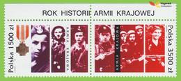 Voyo POLAND ARMIA KRAJOWA HOME ARMY 1992 Mi#3413-14 ** MINT  Pair With Margin - Unused Stamps