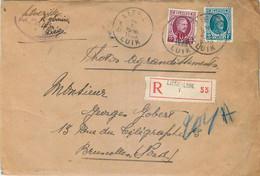 Lettre  Recommandée De Liège Vers Bruxelles Nord - Brieven En Documenten