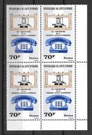 1976 - N° 402**MNH - 100 Ans Première Liaison Téléphonique - Bloc De 4 - Costa De Marfil (1960-...)