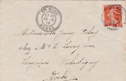 25 – SAINTE MARIE – DOUBS – Lettre A Destination De Valentigney (Doubs) 1916 – Cachet à Date Type B3. - 1877-1920: Semi-moderne Periode