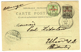 Ganzsache Franz. Post In Marokko 1900 Nach Ulm - Morocco (1956-...)