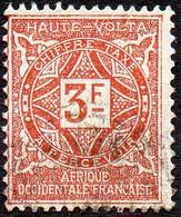 Haute Volta Obl. N° Taxe 20  - Ornements Le 3f Brun Jaune - Oblitérés