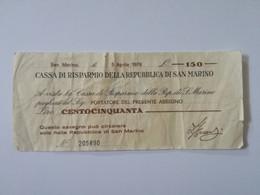 SAN MARINO MINI ASSEGNO 150 LIRE  1976 - San Marino