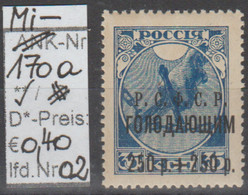 "1922 - RUSSLAND - SM ""Hungerhilfe Im Wolgagebiet"" 250 R + 250 R Auf 35 K Blau  (ru 170a 02) - Unused Stamps"