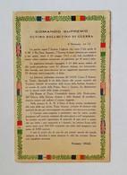 Cartolina Postale Comando Supremo, Ultimo Bollettino Di Guerra Firmato Diaz, Viaggiata Per Lugo - Guerra 1914-18