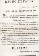 CG - Regno D'Italia- Ordinanza Del Ministro Del'Interno Di Breme - Milano 1/5/1809 - Historical Documents