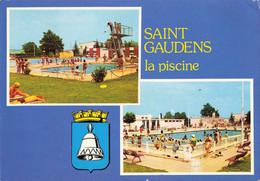 31 St Saint Gaudens La Piscine Plongeoir CPM Carte 2 Vues Blason - Saint Gaudens