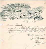 1 Facture A L'Alliance Maison De Confections GILLY 4 Bras Hainaut   1899 - 1800 – 1899