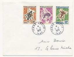 TAAF - Env. Affr 3 Valeurs Insectes - Terre Adélie T.A.A.F. - 1/2/1972 - Covers & Documents