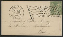 SAGE N° 102 Oblitération Drapeau Paris Départ En 1900 (voir Description) - Mechanical Postmarks (Other)