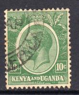 KUT Kenya & Uganda GV 1922-7 10c Green, Used, SG 79 (BA) - Kenya & Uganda