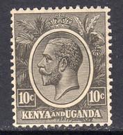 KUT Kenya & Uganda GV 1922-7 10c Black, Hinged Mint, SG 80 (BA) - Kenya & Uganda