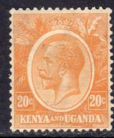 KUT Kenya & Uganda GV 1922-7 20c Orange-yellow, Hinged Mint, SG 83 (BA) - Kenya & Uganda