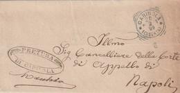A48. Carinola. 1899. Annullo Tondo Riquadrato CARINOLA (CASERTA) + Annullo PRETURA..., Su Franchigia Senza Testo - Marcophilia