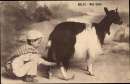 CPA Malta, Milk Seller, Junge Verkauft Ziegenmilch - Malta