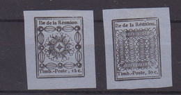REUNION : N° 1 , N° 2 . (*) . REIMPRESSIONS . 1852 . ( CATALOGUE YVERT ) . - Unused Stamps