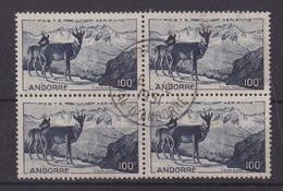 ANDORRE : PA . N° 1 . OBL . BLOC DE 4 . ( LEGERES FROISSURES ) . B . 1950 . - Poste Aérienne