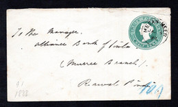 INDIA 1888 - 1/2a QV Postal Envelopes Posted MEEAN MEER (Lahore) 9.1.88 To RAWALPINDI 10.1.88 Pakistan - Stationery - Buste