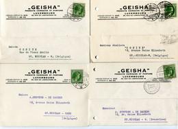 Plicart - Carte Postal  - 4 Cartes Entre 1935/38 Avec Texte - Firma GEISHA Produits Chimiques Et Parfums Luxembourg - Covers & Documents