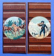 2  CHROMOS...PLAQUE OU TABLETTE DE CHOCOLAT DEVINCK......AVEC REPRODUCTION ARMEE...HUSSARDS...CHASSEURS A PIED ALPINS - Sonstige
