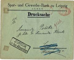 """1922, Drucksache, ZURÜCK An Den Absender  """" Leipzig """", *134 - Covers & Documents"""