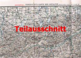 109 Übersichtskarte Ostalpen Schutzhütten Beilage Zeitschrift 1900 !!! - Geographical Maps